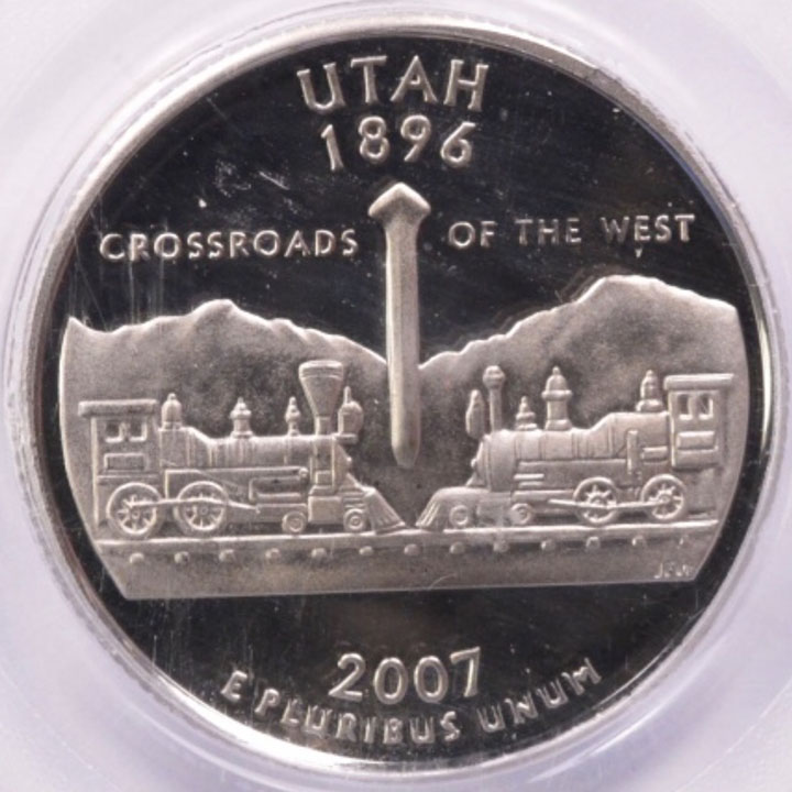 2007 S Utah State Quarter Mis Fed Planchet High Fin Rim