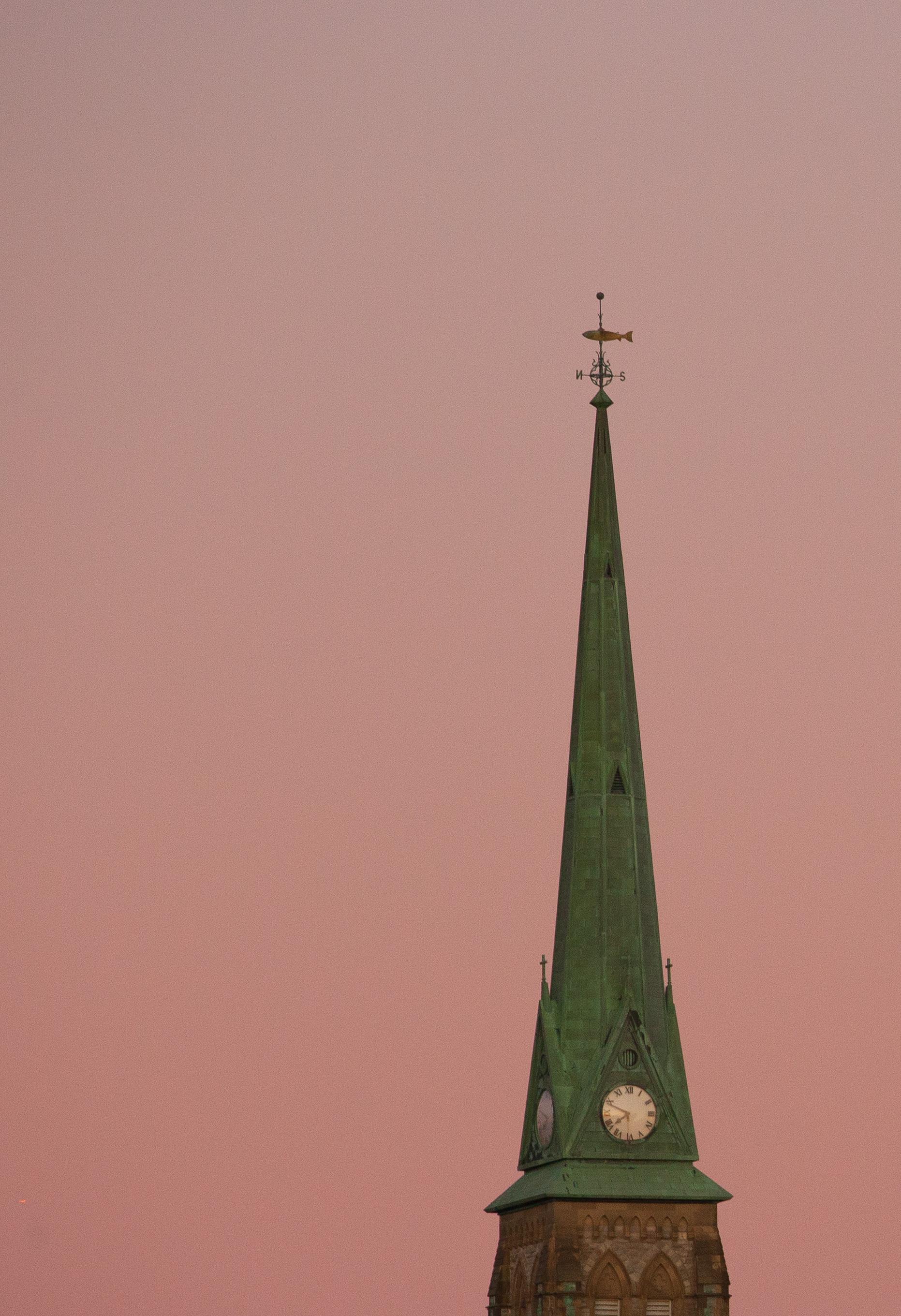 A photograph depicting Church Steeple Saint John