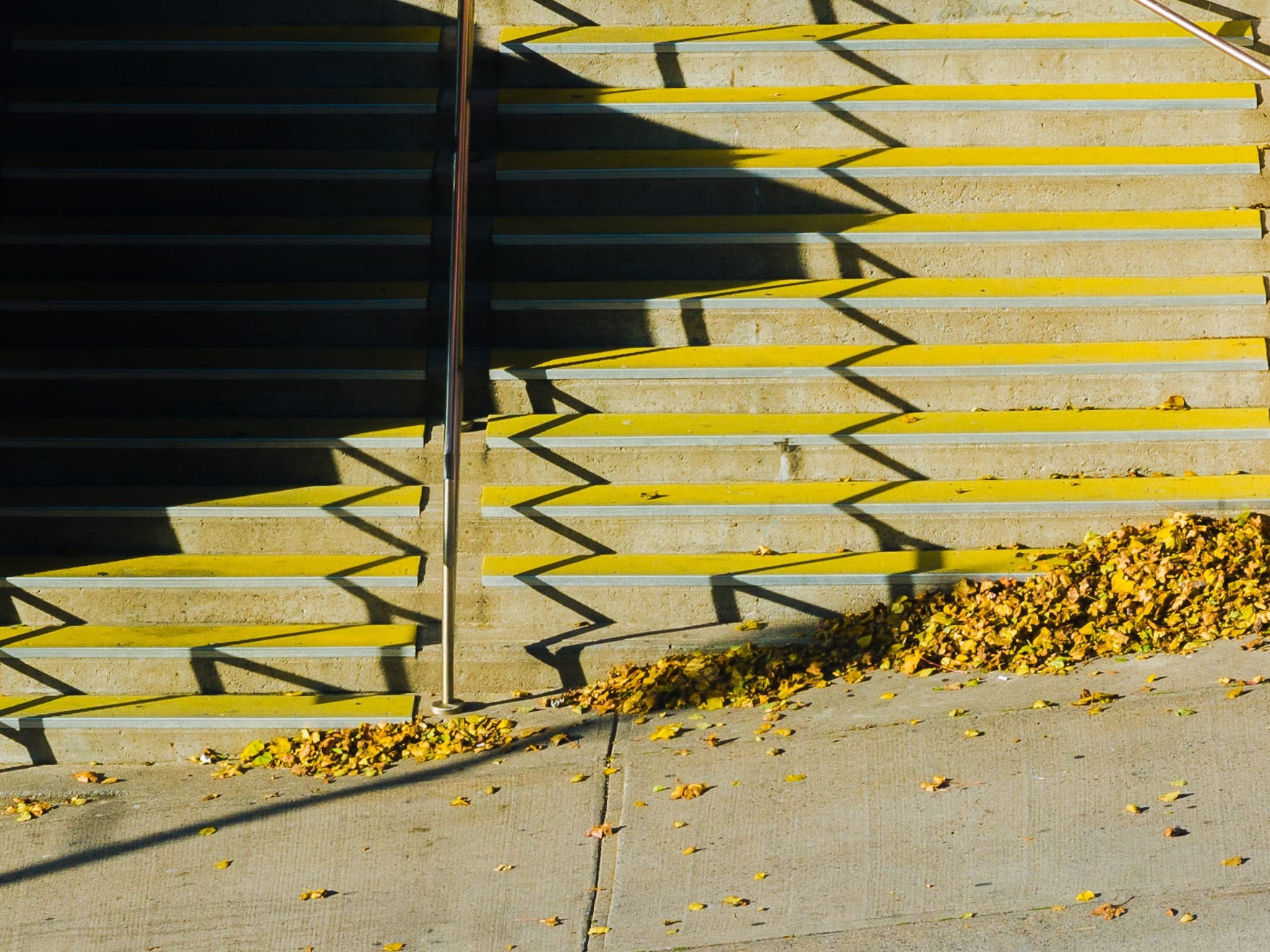 A photograph depicting Market Square Fall Colors Staircase