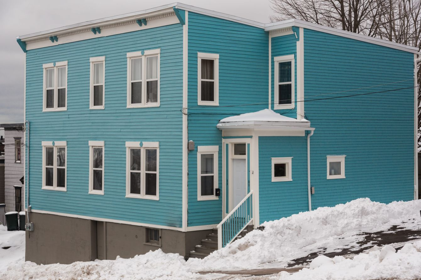 Click thumbnail to see details about photo - Old Blue Home in Saint John Photograph