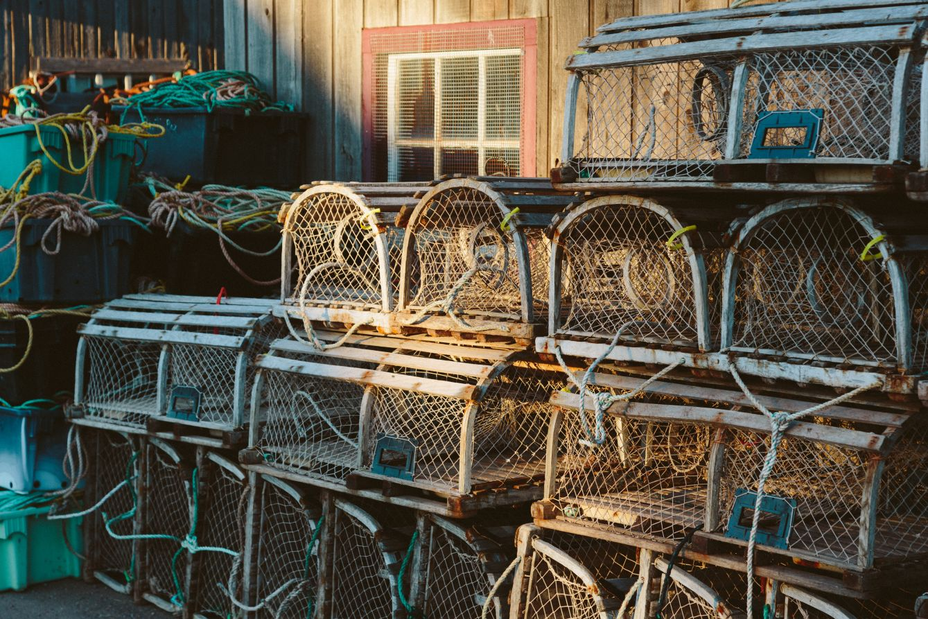Click thumbnail to see details about photo - Prince Edward Island Stock Photo Lobster Traps In Morning Light Stock Photo