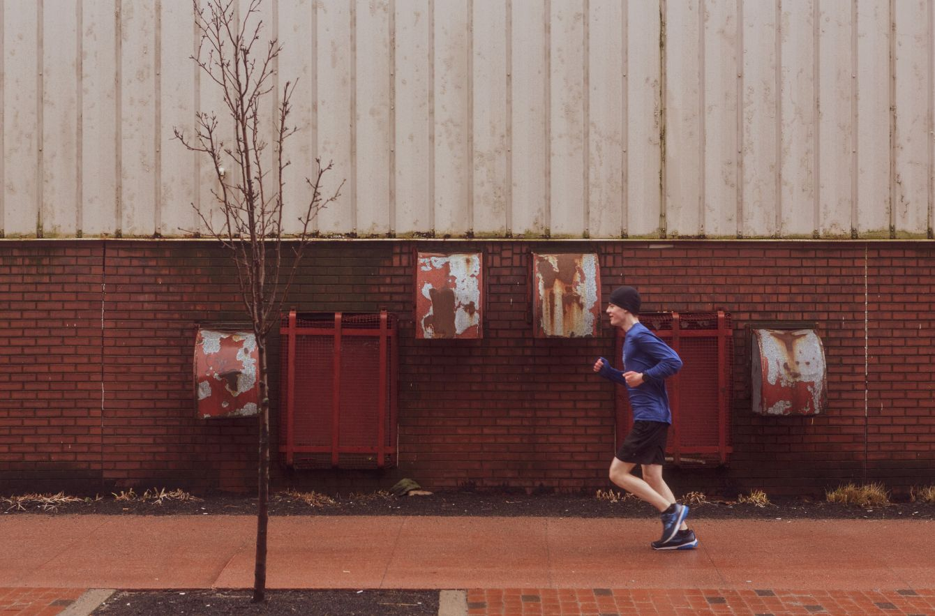 Click thumbnail to see details about photo - Runner on Water Street Saint John Photograph