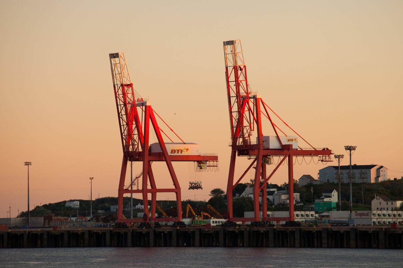 Click thumbnail to see details about photo - Saint John City Port Cranes Close Up Photograph