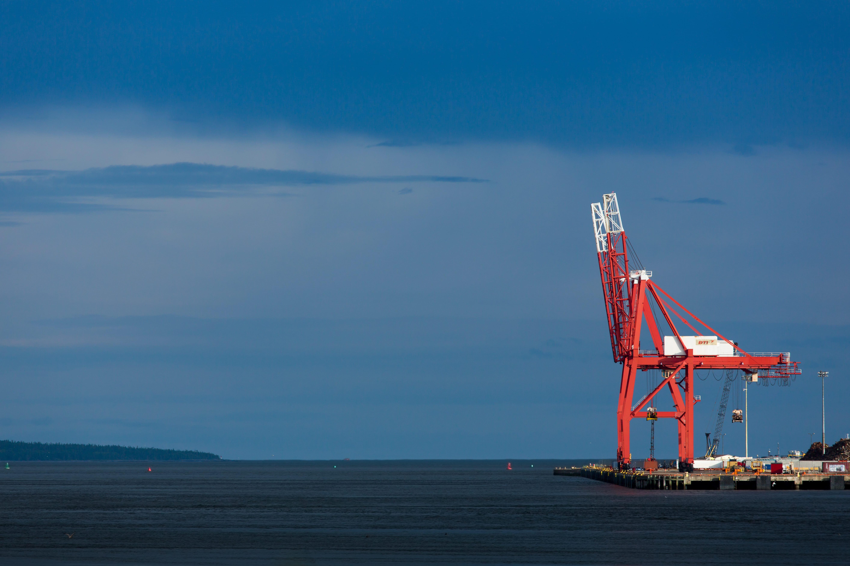 A photograph depicting Cranes at Saint John Port
