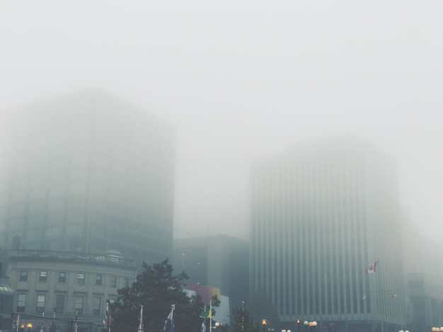 Foggy Saint John Buildings Photograph