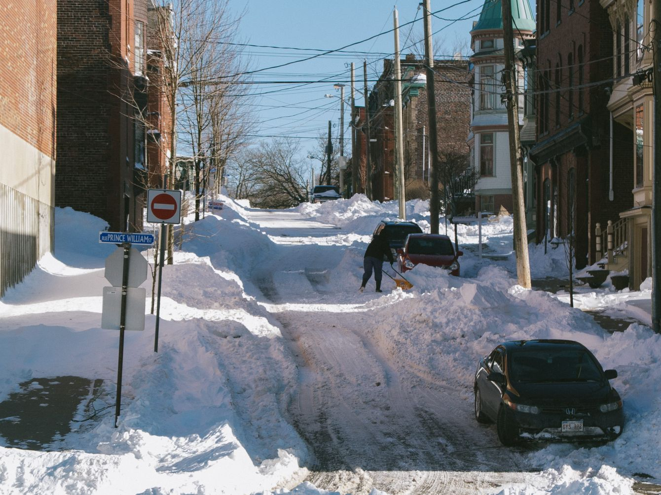 Click thumbnail to see details about photo - Queen Street Shoveling Photograph