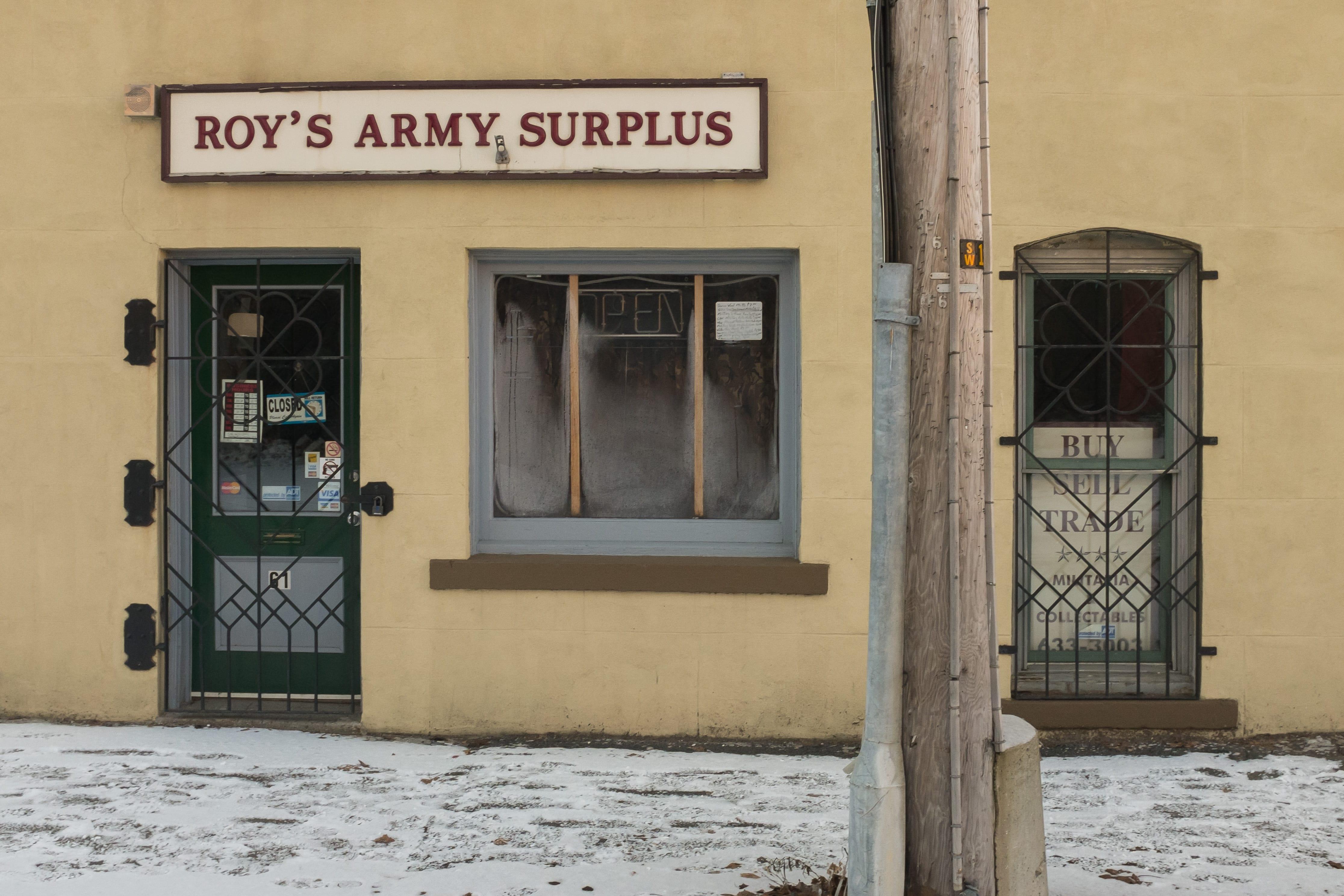 A photograph depicting Roys Army Surplus Entrance Saint John