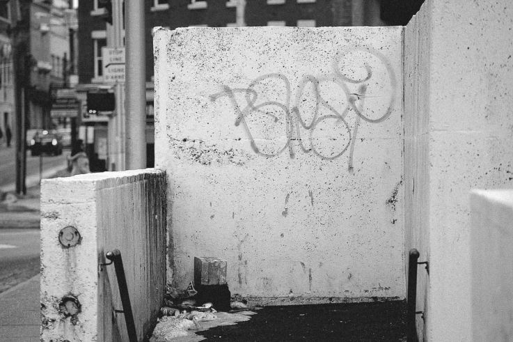Click thumbnail to see details about photo - Saint John Cemented Entry Bw Photograph