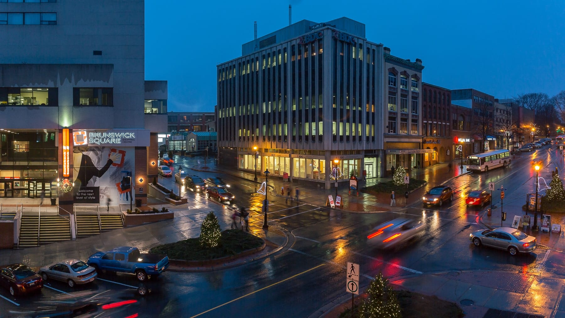 A photograph depicting Saint John Photos King Street in the Rain
