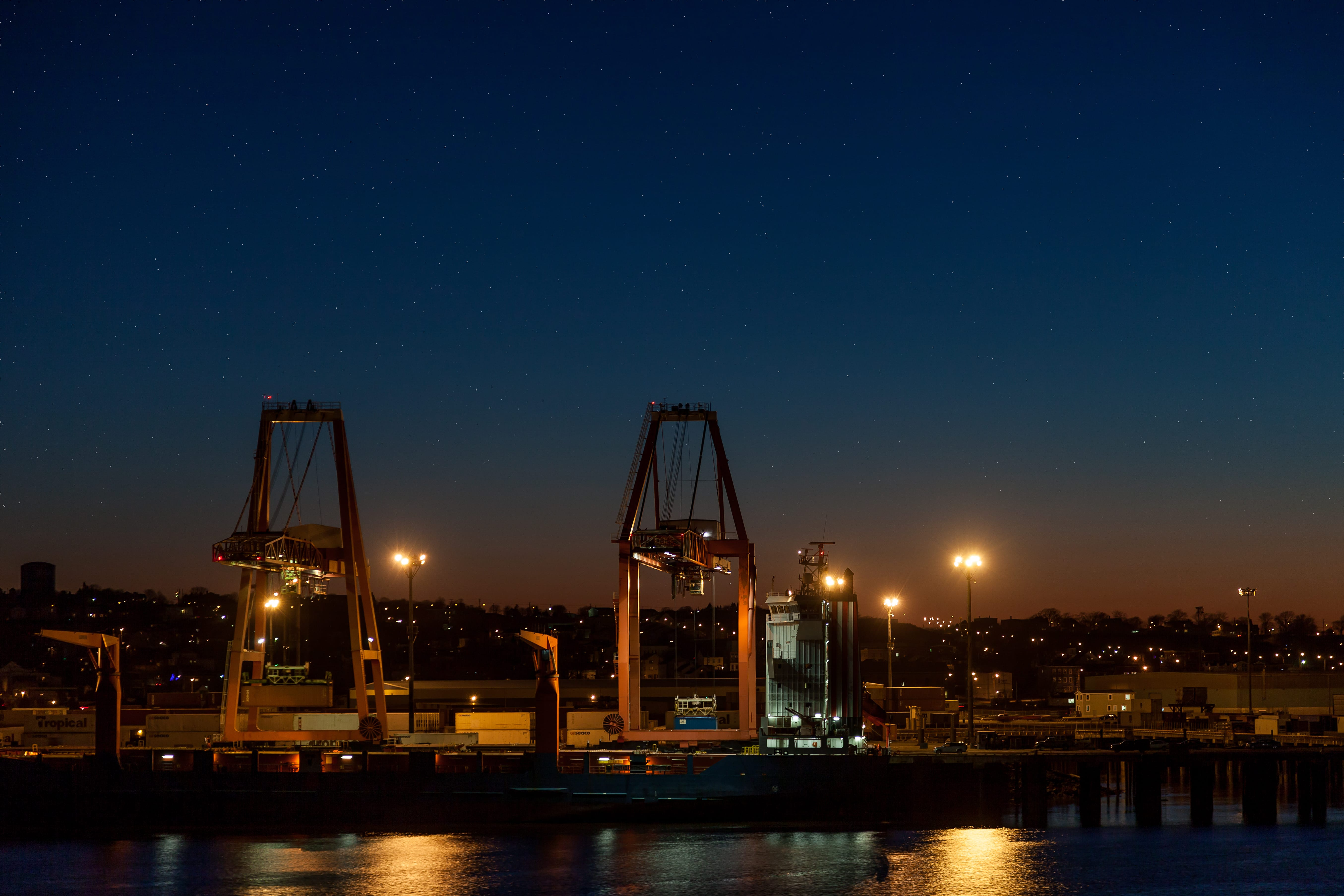 A photograph depicting Saint John Port Authority Cranes at Night