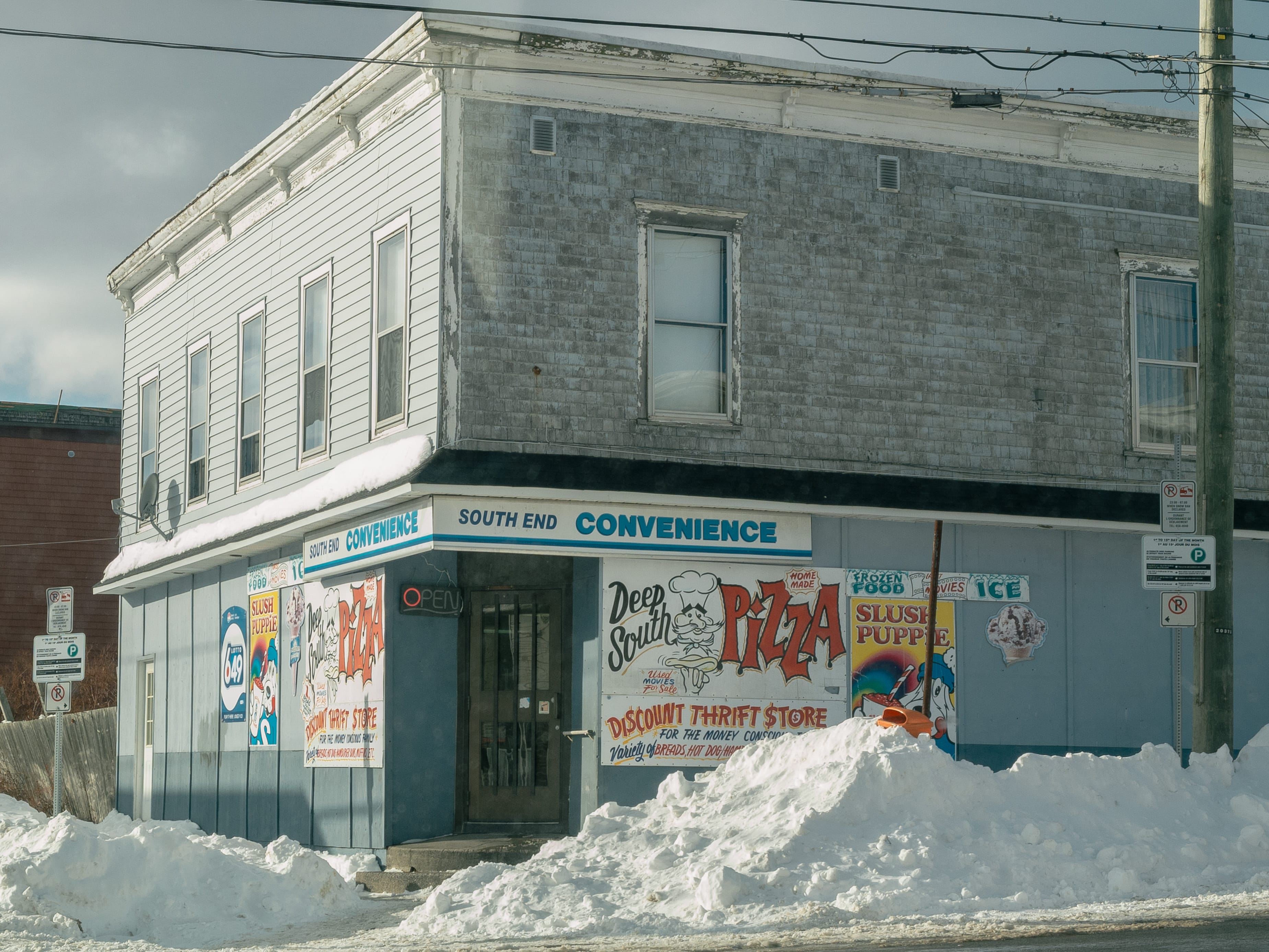 A photograph depicting South End Convenience in Winter Saint John