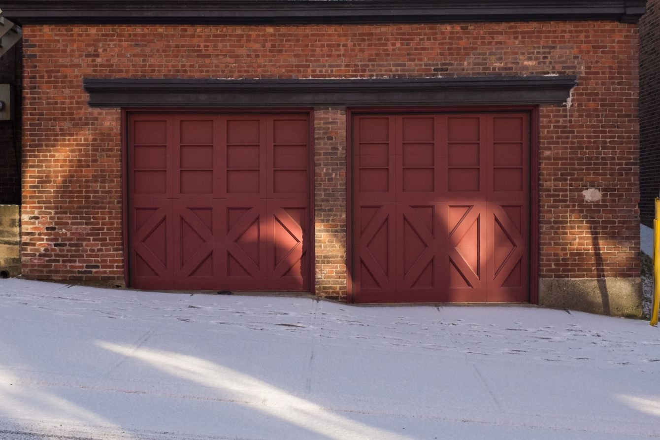 Click thumbnail to see details about photo - Two Door Red Garage on Duke Photograph