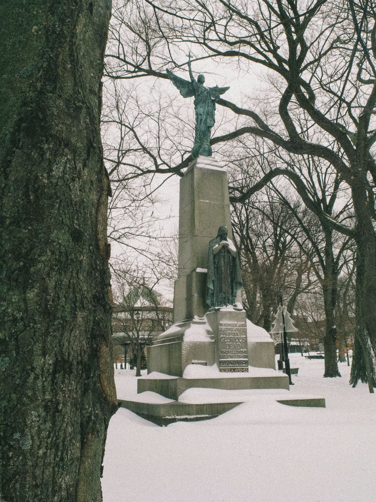 A photo of The Glorious Dead Statue in Kings Square Snow Saint John Photograph