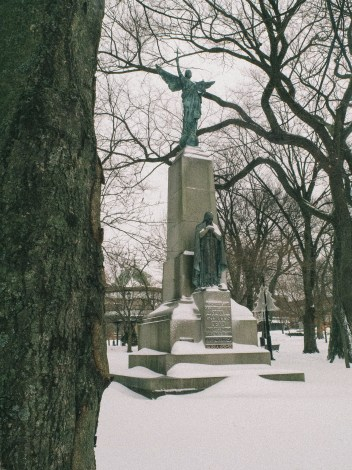 The Glorious Dead Statue in Kings Square Snow Saint John Photograph