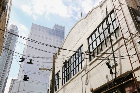 A photo of Austin Texas Shoes On Power Line Wide Shot