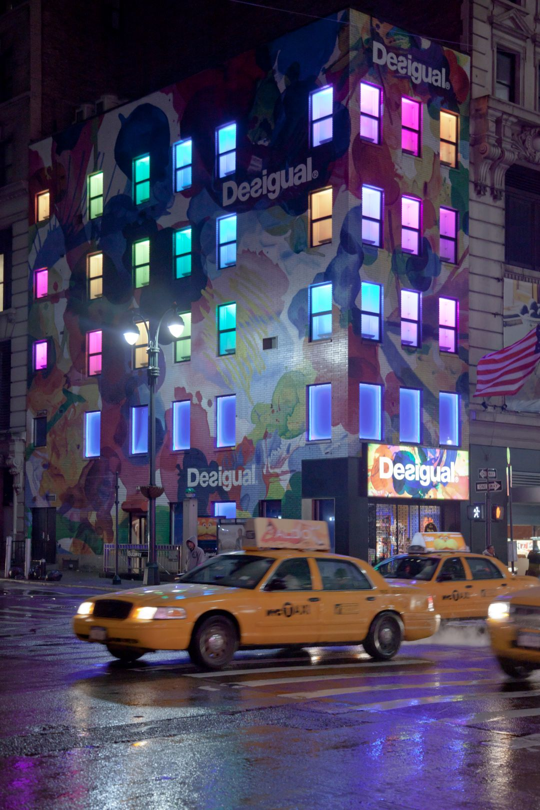 A photo depicting New York City Desigual Store At Night