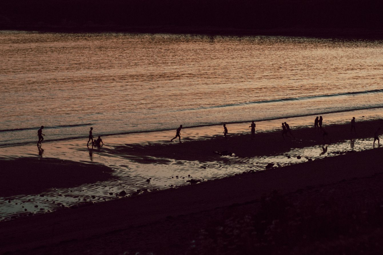 Click thumbnail to see details about photo - Mispec Beach Kids Playing at Dusk