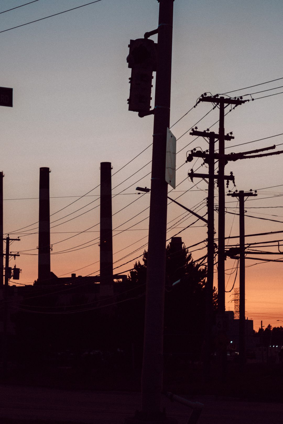 A photo depicting Telephone Poles Industrial Park Dusk