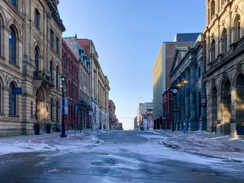 A photo of empty prince william street in winter
