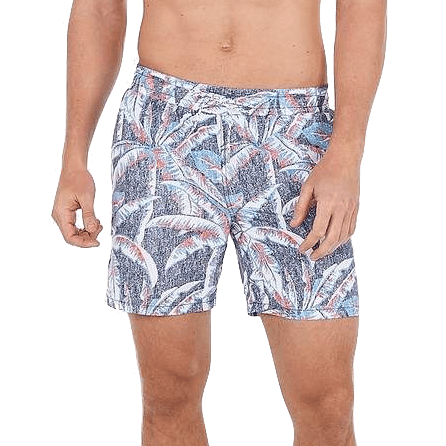 Palm Print Drawstring Swim Trunks