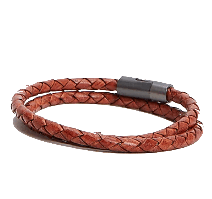Express Braided Leather Thick Wrap Bracelet