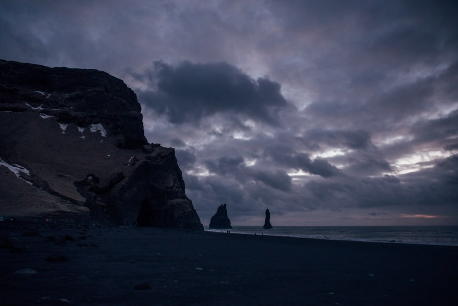 Iceland – Black Sand Beach near Vik. Trip to Iceland with Katie and Holly 1/1-1/7.