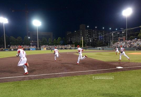 Running onto the field
