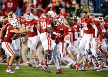 Interception and touchdown celebration