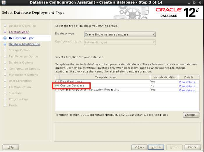 DBCA Oracle 12.2.0.1