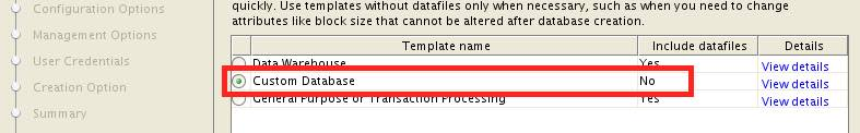 Always create databases as CUSTOM databases