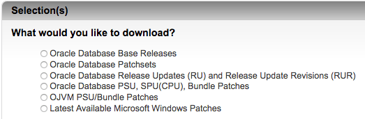 Download Assistant for RUs, RURs, BPs, PSUs, Patch Sets and Releases