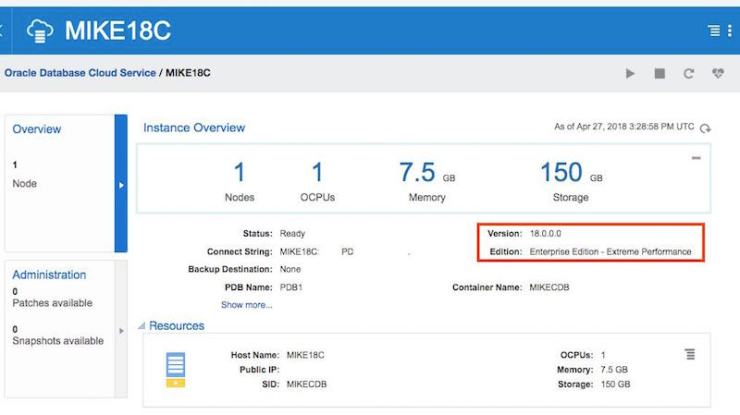 Patching to Oracle 18.2.0 in the Oracle Cloud (OCI Classic)