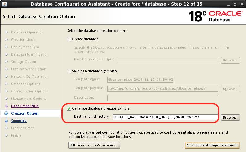 How to speed up Multitenant CUSTOM database creation