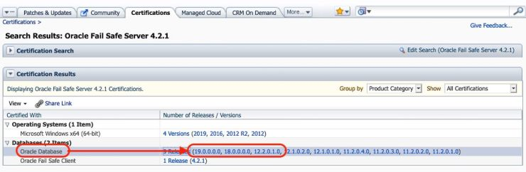 Is Oracle Fail Safe 4.2.1 certified with Oracle Database 19c?