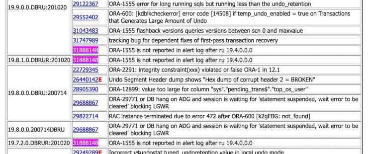 ORA-1555 won't get reported into alert.log anymore since 19.4.0