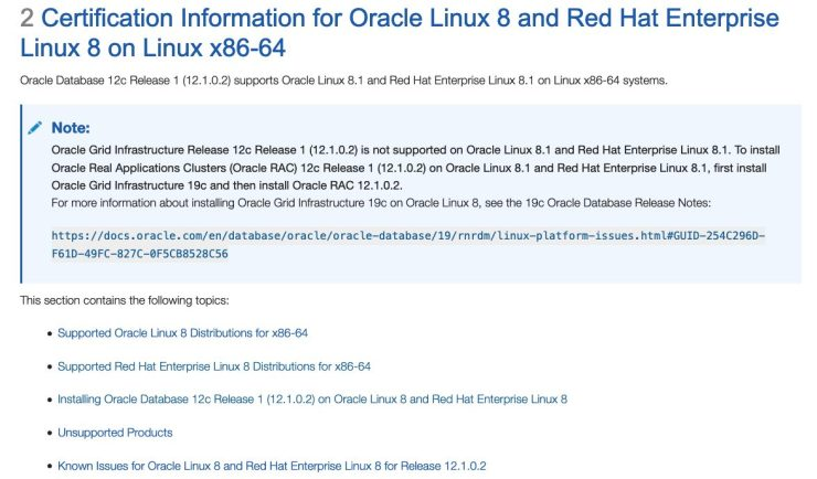 Oracle Database 12.1.0.2 certified on Oracle Linux 8 and RHEL8