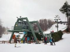 A ski lift at Treetops Resort near Gaylord, MI in Dec 2014.