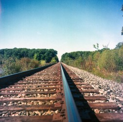 Some railroad tracks behind my parents house.