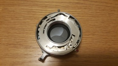 The shutter after removing the front lens, middle lens, and focus ring stop.
