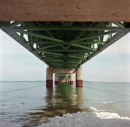 This is beneath the Mackinac Bridge, looking north.