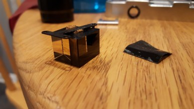This is the prism with the integrated beamsplitter in the Yashica 35. A great tip is to not drop this on the floor.