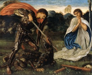 Image of painting of knight slaying dragon