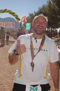 Thumbs up after the Tucson Marathon!