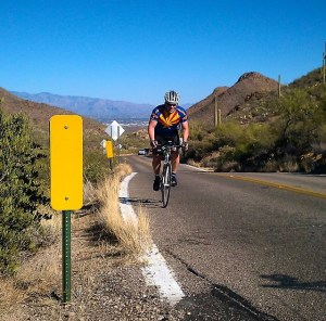 Leonard climbing Gates Pass on the 300k Brevet