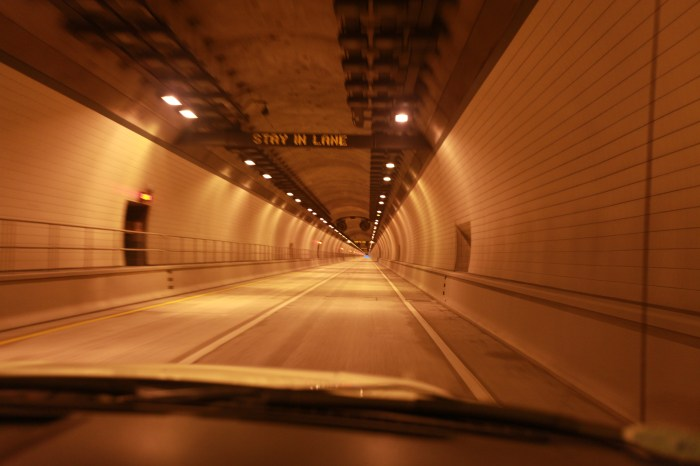 The Cumberland Gap Tunnel from inside the HazMat escort truck. (The bike's in the back)