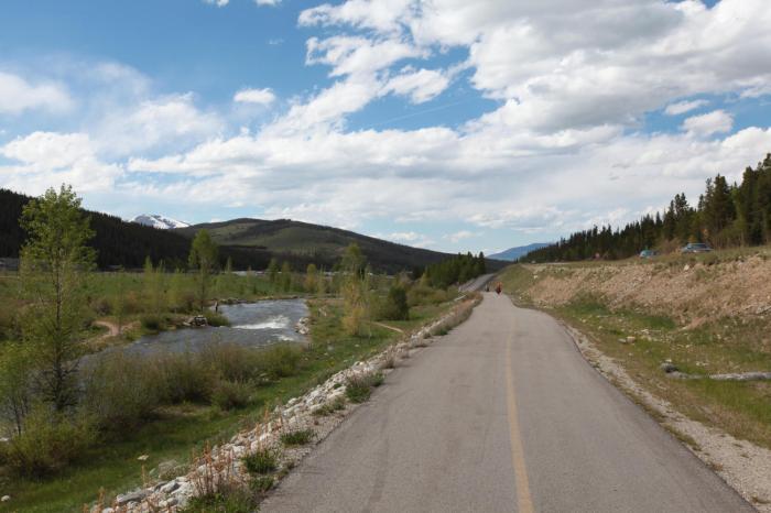 A beautiful bike trail and river near Breckinridge, CO.