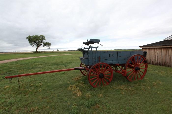 An Army supply wagon. --at Fort Larned, KS