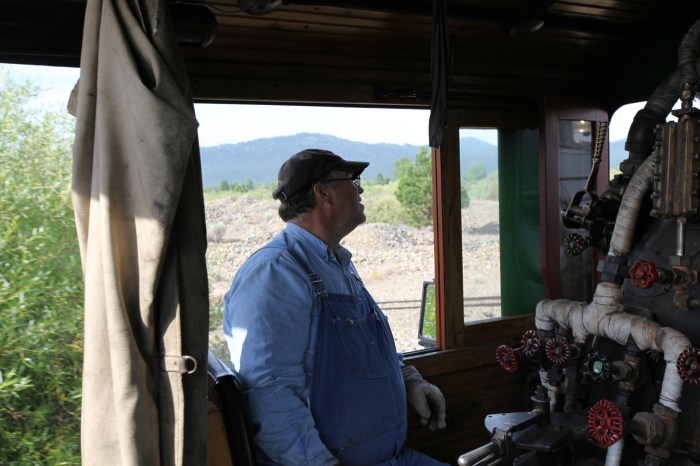 Riding in the cab with Dan the engineer. --Sumpter, OR.