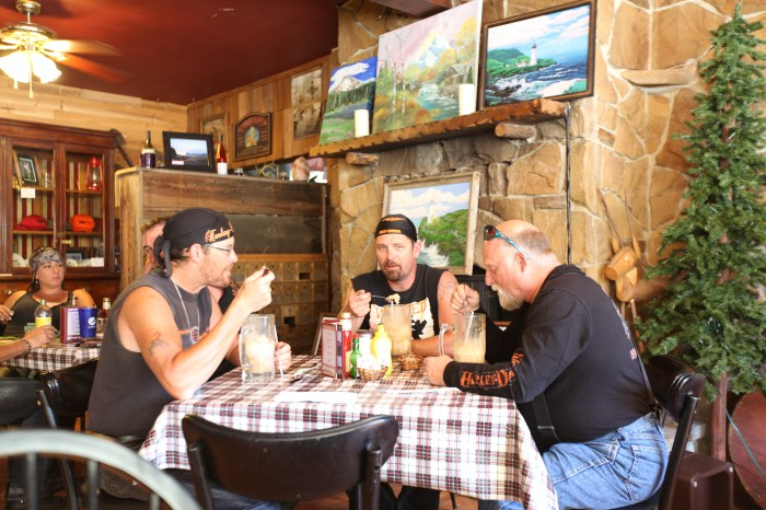 Tough Harley riders having root beer floats. Austin Junction, OR.