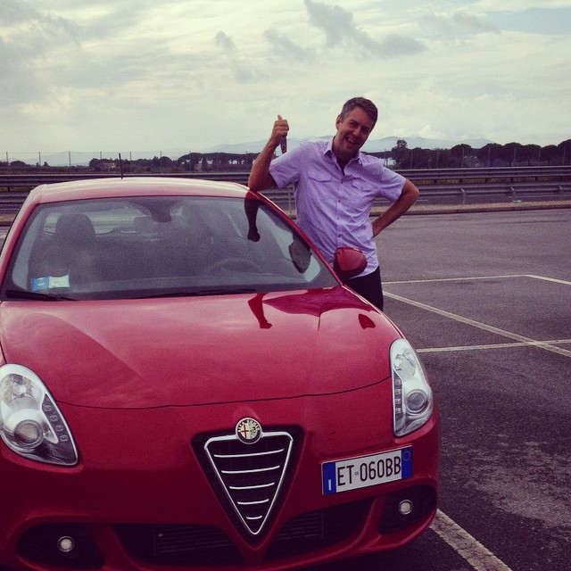 Somehow we ended up with a fast little Alfa Romeo from the rental counter
